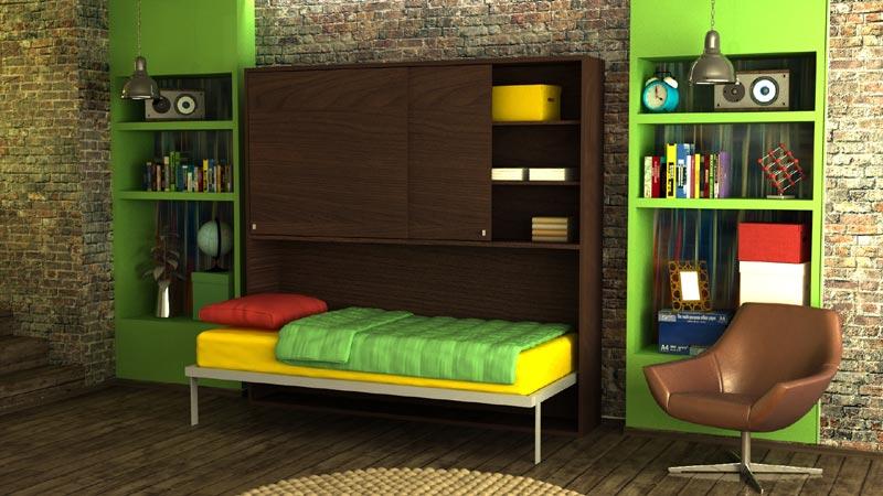 Plakar iznad horizontalnog zidnog kreveta