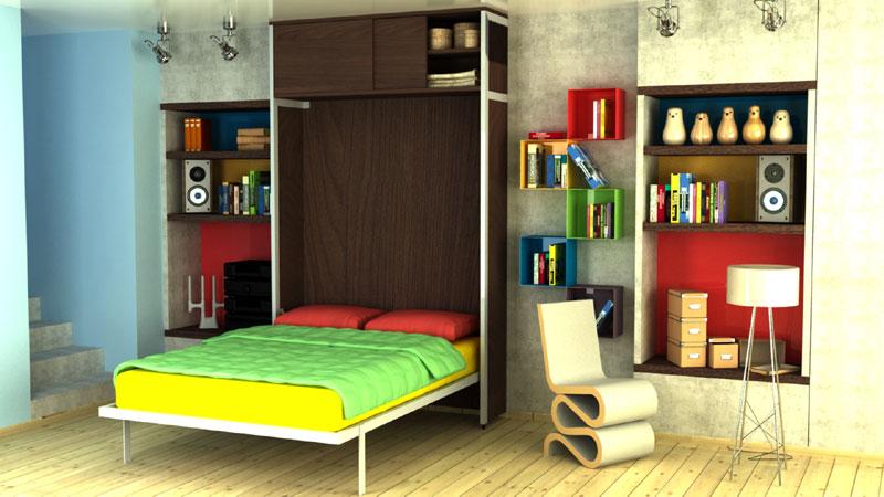Plakar iznad vertikalnog zidnog kreveta
